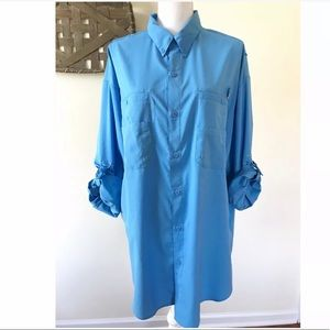 Columbia 1X Big/Tall Tamiami II PFG Shirt Blue